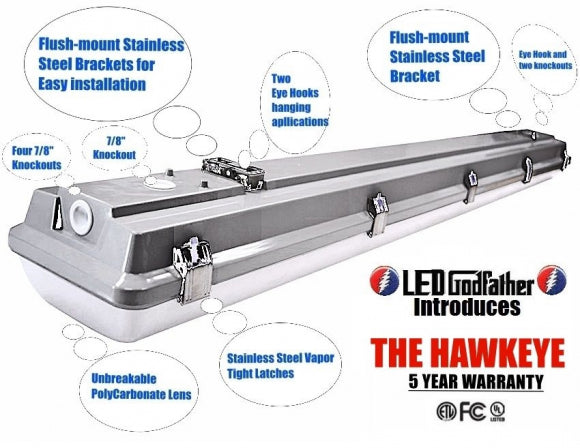 HAWKEYE LED Utility Shop Light 4' Ft 44-Watts Instant-On 5,700lm