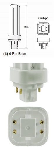 13 Watt G24q-1 Base Double Tube CFL (Case of 50)
