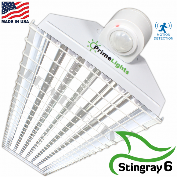 LED StingRay 6 XL MOTION ACTIVATED Shop Light With Wire Guard (FROSTED LED)