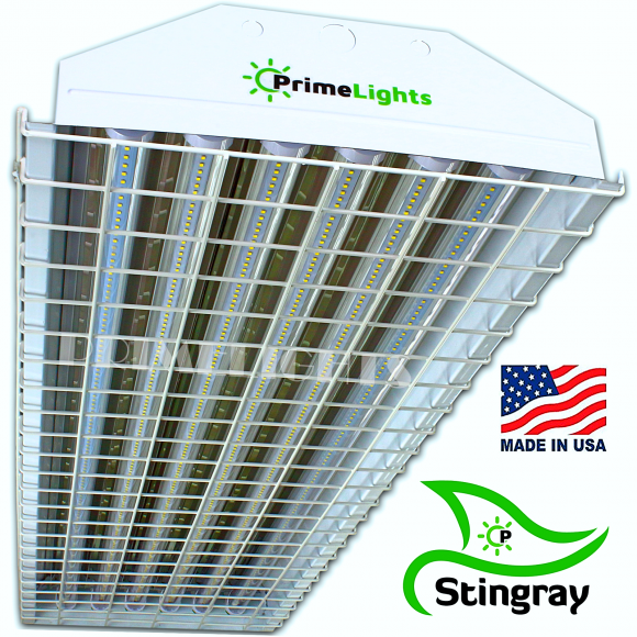 LED 6 Lamp T8 STINGRAY 6XL Highbay Fixture 132 Clear W/ Wire Guard