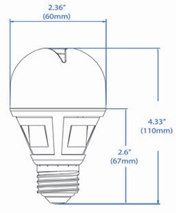 LED A-Lamp 7.5 Watt 2700K Dimmable TULIP (Case of 6)