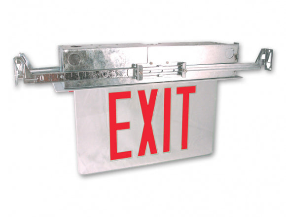 LED Recessed Edge Lit Exit Sign (Case of 4)