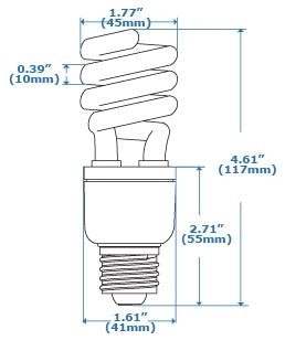 13 Watt Spiral CFL T3 - 60 Watt Replacement (Case of 60)