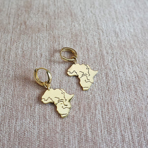 PAWNSHOP GOLD PLATED STERLING SILVER AFRICA CHARM HOOP EARRINGS
