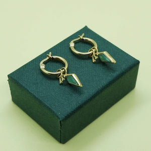 PAWNSHOP GOLD PLATED STERLING SILVER CHARM HOOP EARRINGS