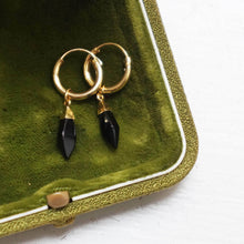 Load image into Gallery viewer, PAWNSHOP GOLD PLATED STERLING SILVER ONYX HOOP EARRINGS