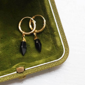 PAWNSHOP GOLD PLATED STERLING SILVER ONYX HOOP EARRINGS