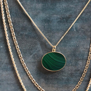 PAWNSHOP GOLD PLATED STERLING SILVER MALACHITE NECKLACE
