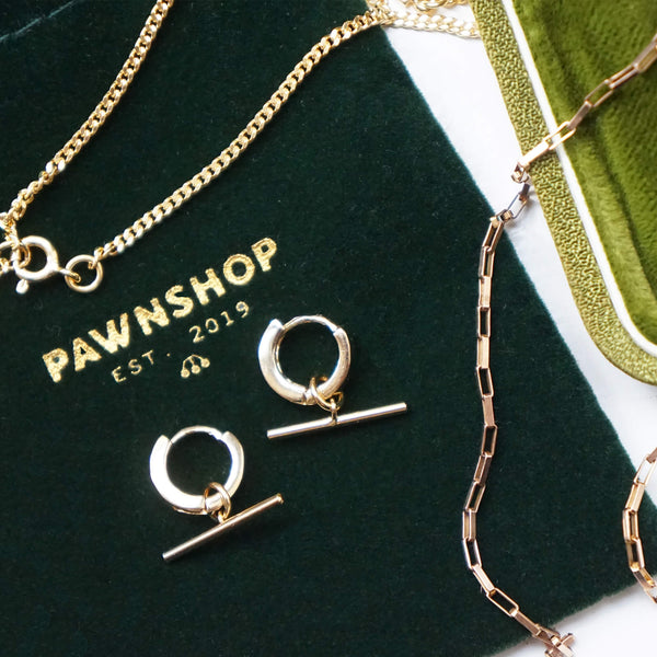 PAWNSHOP GOLD PLATED STERLING SILVER T BAR HOOP EARRINGS