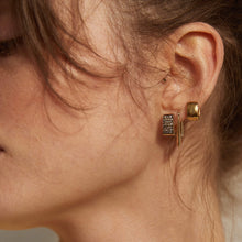 Load image into Gallery viewer, PAWNSHOP GOLD PLATED STERLING SILVER SQUARE HOOP EARRINGS