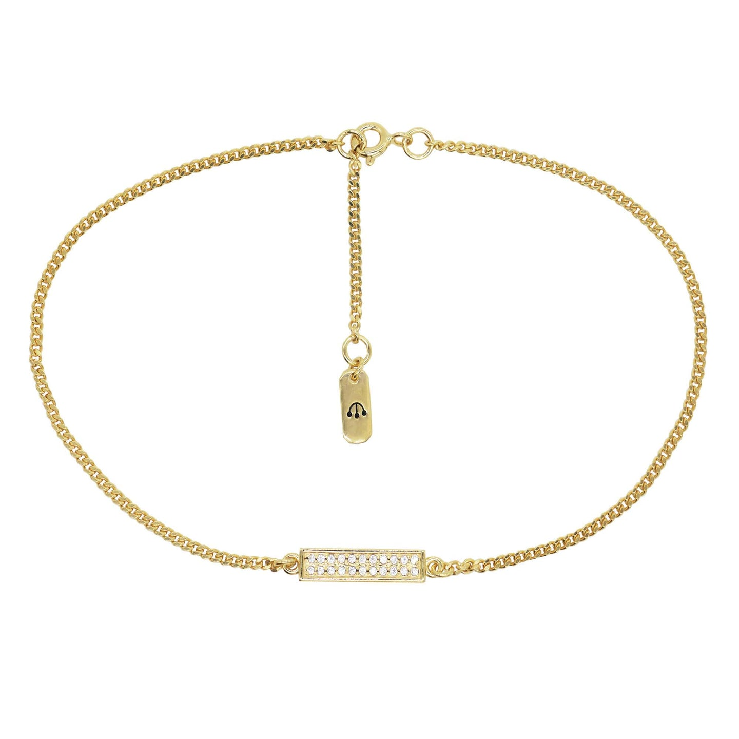 Close up product shot of pawnshop gold plated sterling silver chain anklet with rectangle pave crystal bar. Chain has an extender and on the end is a tag with pawnshop 3 ball logo engraved. Product shot on a white background.