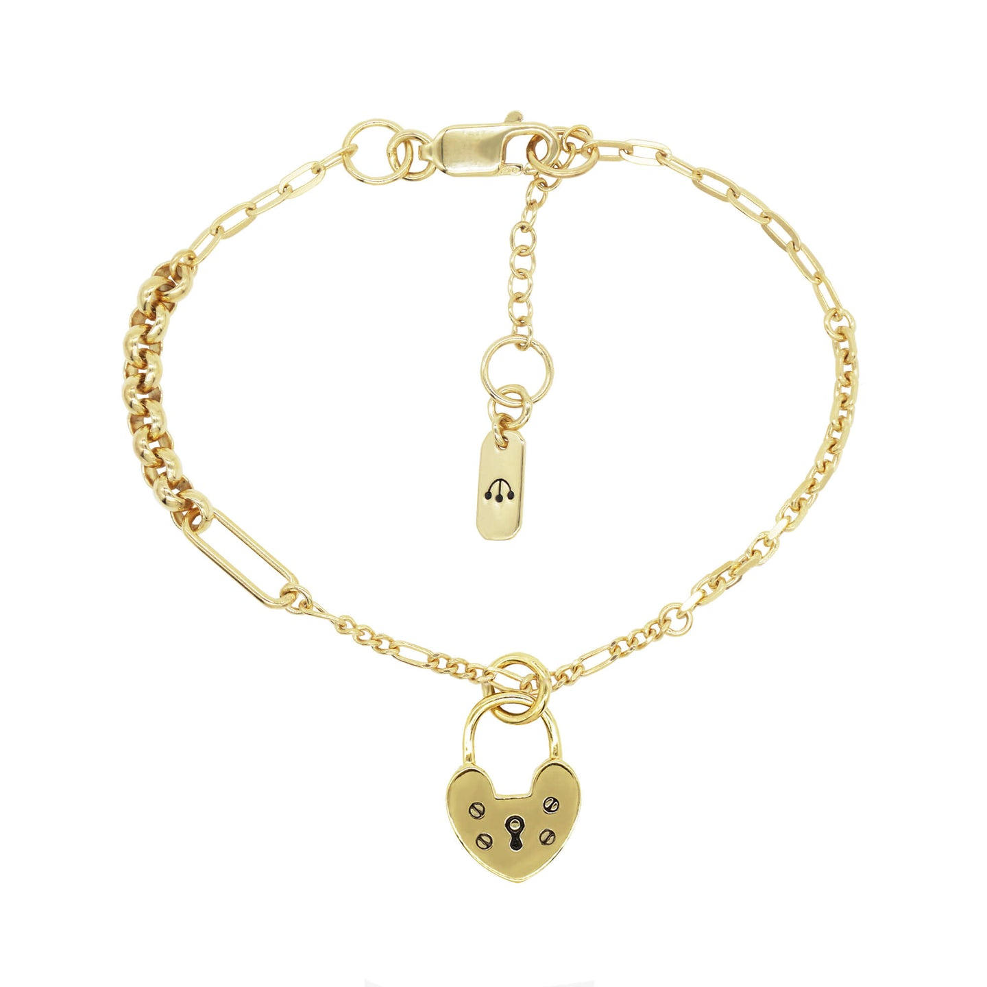 close up product shop of pawnshop gold plated sterling silver heart charm bracelet. Mixed chain bracelet, small non working heart locket with engraved screw and keyhole. Pawnshop 3 logo symbol tag on the end of the extension chain. Product shot on a white background.