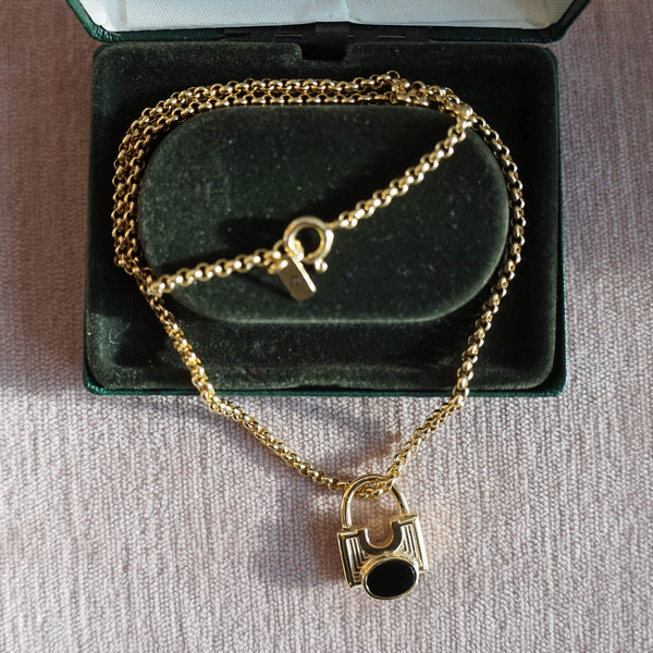 PAWNSHOP GOLD PLATED STERLING SILVER ONYX PADLOCK NECKLACE