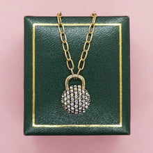 Load image into Gallery viewer, PAWNSHOP GOLD PLATED STERLING SILVER PAVE PADLOCK NECKLACE