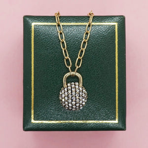 PAWNSHOP GOLD PLATED STERLING SILVER PAVE PADLOCK NECKLACE