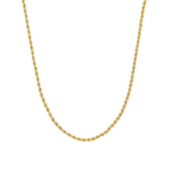 close up product shot of 9k gold rope chain necklace on a white background