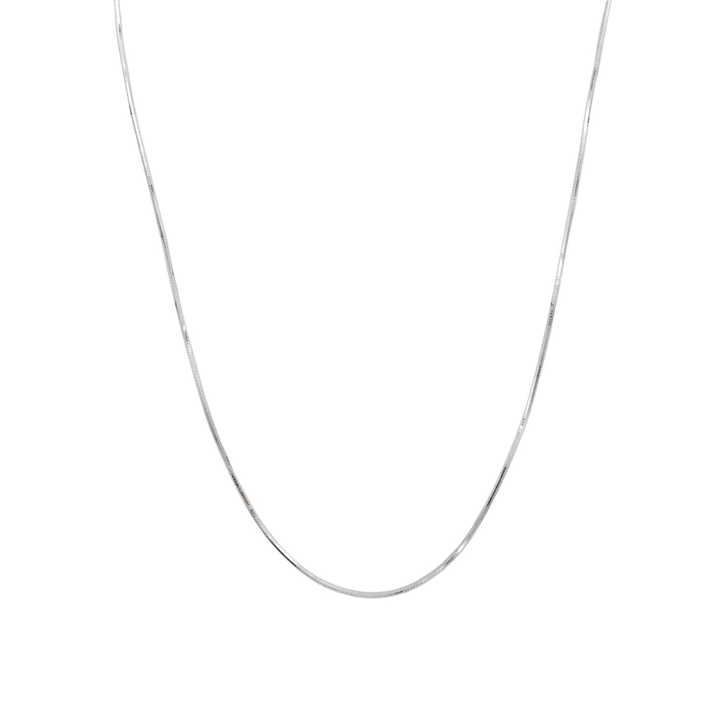 Sterling silver snack chain necklace on a white background.