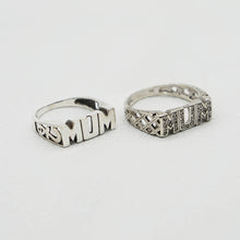 Load image into Gallery viewer, Pair of Vintage Sterling Silver Mum rings on a white background.