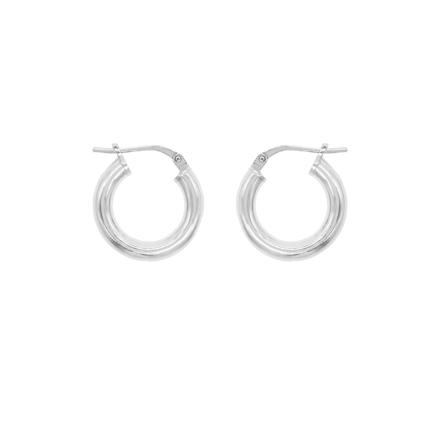Pair of sterling silver round small tube hoop earrings with pin lever fastening. White background.