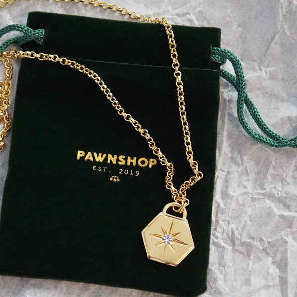 PAWNSHOP GOLD PLATED STERLING SILVER HEXAGON STARBURST NECKLACE