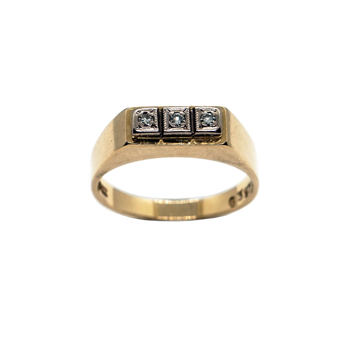 Vintage 18K gold ring, with 3 diamonds set in square silver surround. Hallmarked. White background.