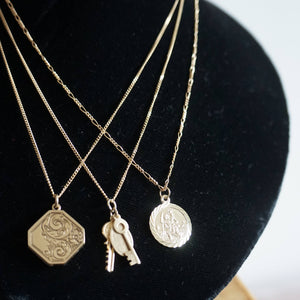 9K GOLD ST CHRISTOPHER COIN NECKLACE