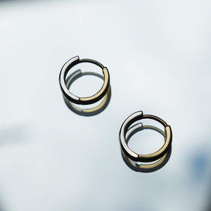 PAWNSHOP GOLD PLATED STERLING SILVER 2 TONE HOOP EARRINGS