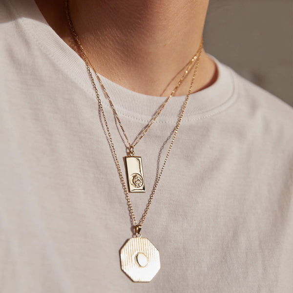 9K GOLD ST CHRISTOPHER INGOT NECKLACE