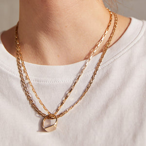 VINTAGE 9K GOLD PAPER LINK CHAIN NECKLACE