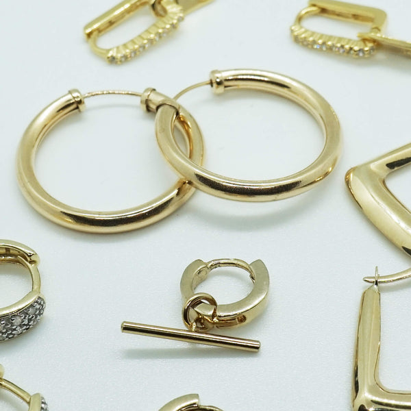 9K GOLD TUBE HOOP EARRINGS