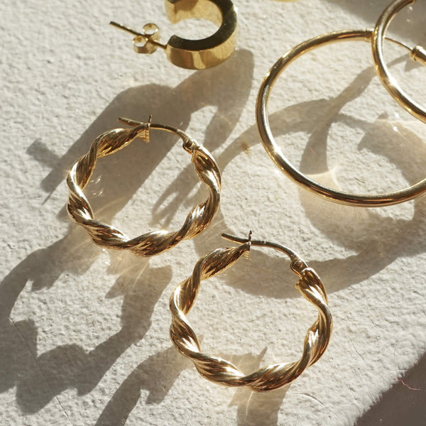 9K GOLD TWIST HOOP EARRINGS