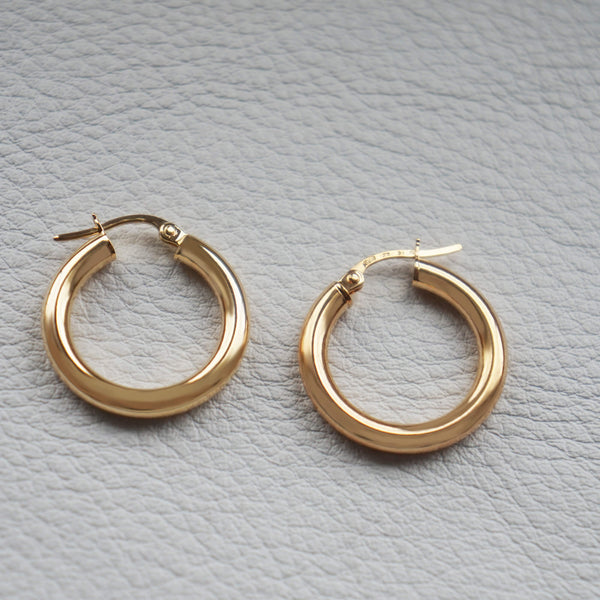9K GOLD CHUNKY HOOP EARRINGS