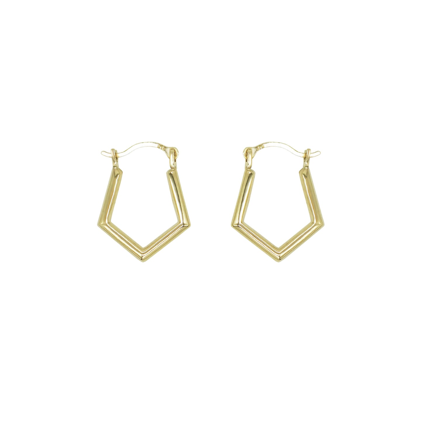 Pair of small 15mm 9K Gold Fine Angle Pointed Hoop Earrings, with hinge fastening. Shot on a white background.