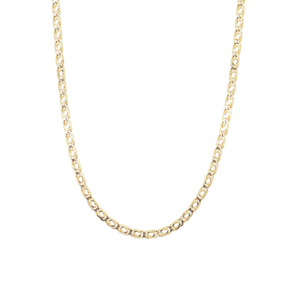 Vintage 9K gold actor chain background on a white background.