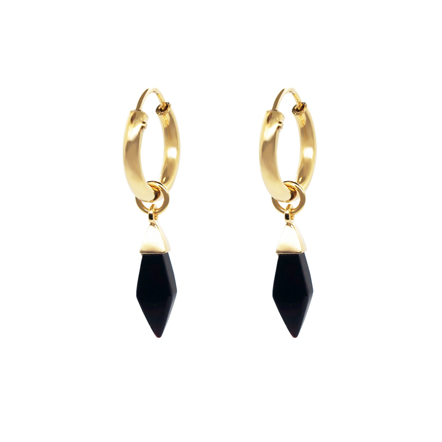 close up product shot of pair of Pawnshop gold plated sterling silver earrings with black semi precious onyx shard drop charm.  Charm drop is approx 10mm long, and has a gold cap and jump ring attaching it to the hoop. Product is shot on a white background.