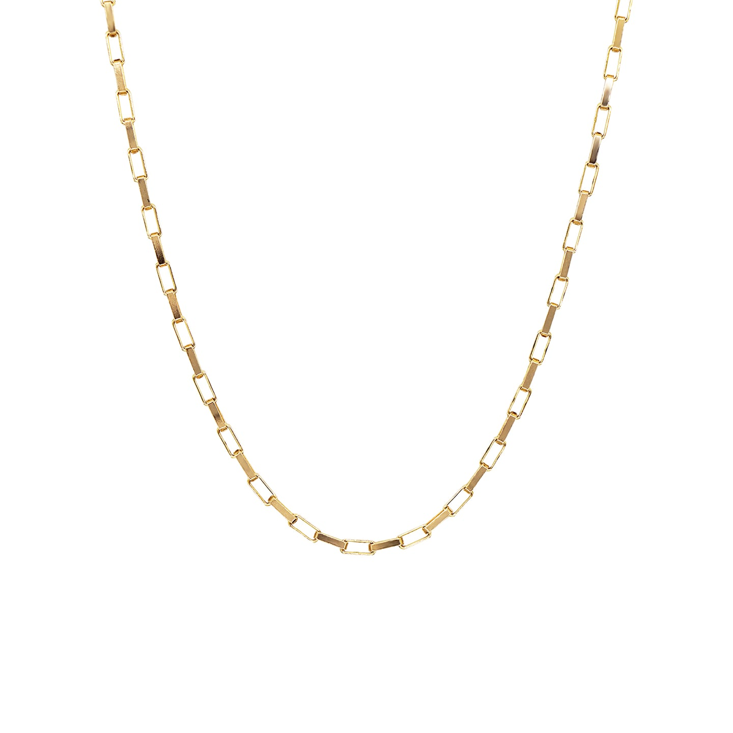 Vintage 9K gold paper link chain necklace on a white background.