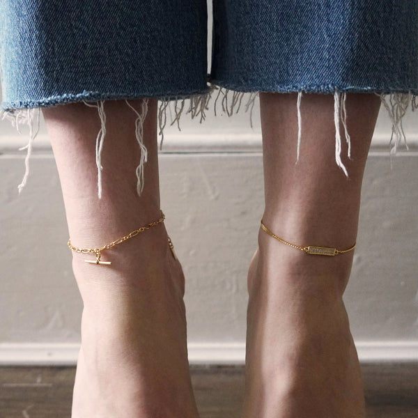 PAWNSHOP GOLD PLATED STERLING SILVER T BAR ANKLET