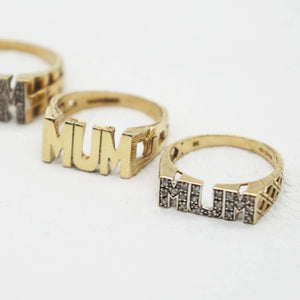 Three Mum rings- size profile focus on pave mum with lattice sides