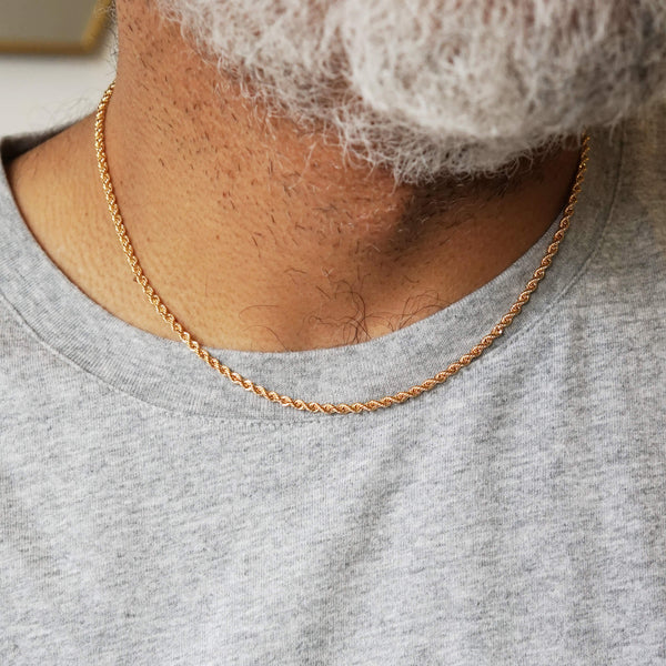 9K GOLD ROPE CHAIN NECKLACE