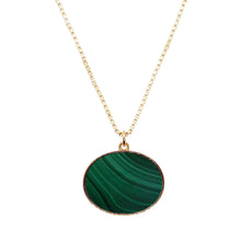 Load image into Gallery viewer, Close up product shot of Pawnshop gold plated sterling silver box chain necklace with a semi-precious malachite green oval pendant with gold surround. Pendant is approx 30 x 20mm. Pictured on a white background.