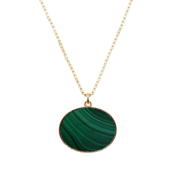 Close up product shot of Pawnshop gold plated sterling silver box chain necklace with a semi-precious malachite green oval pendant with gold surround. Pendant is approx 30 x 20mm. Pictured on a white background.