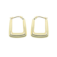 Load image into Gallery viewer, close up pair 9k gold rectangle hoop earrings on a white background