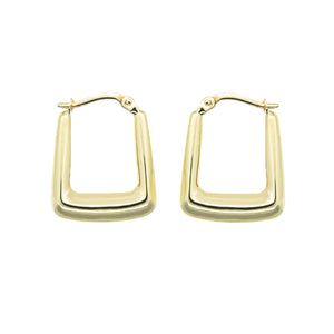 close up pair 9k gold rectangle hoop earrings on a white background