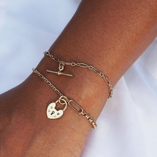 PAWNSHOP GOLD PLATED STERLING SILVER HEART CHARM BRACELET
