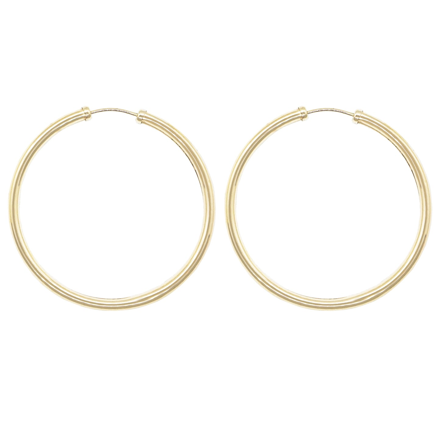 pair of 9k gold tube hoop earrings