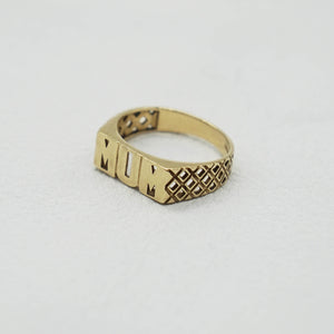 VINTAGE 9K GOLD GEO MUM RING