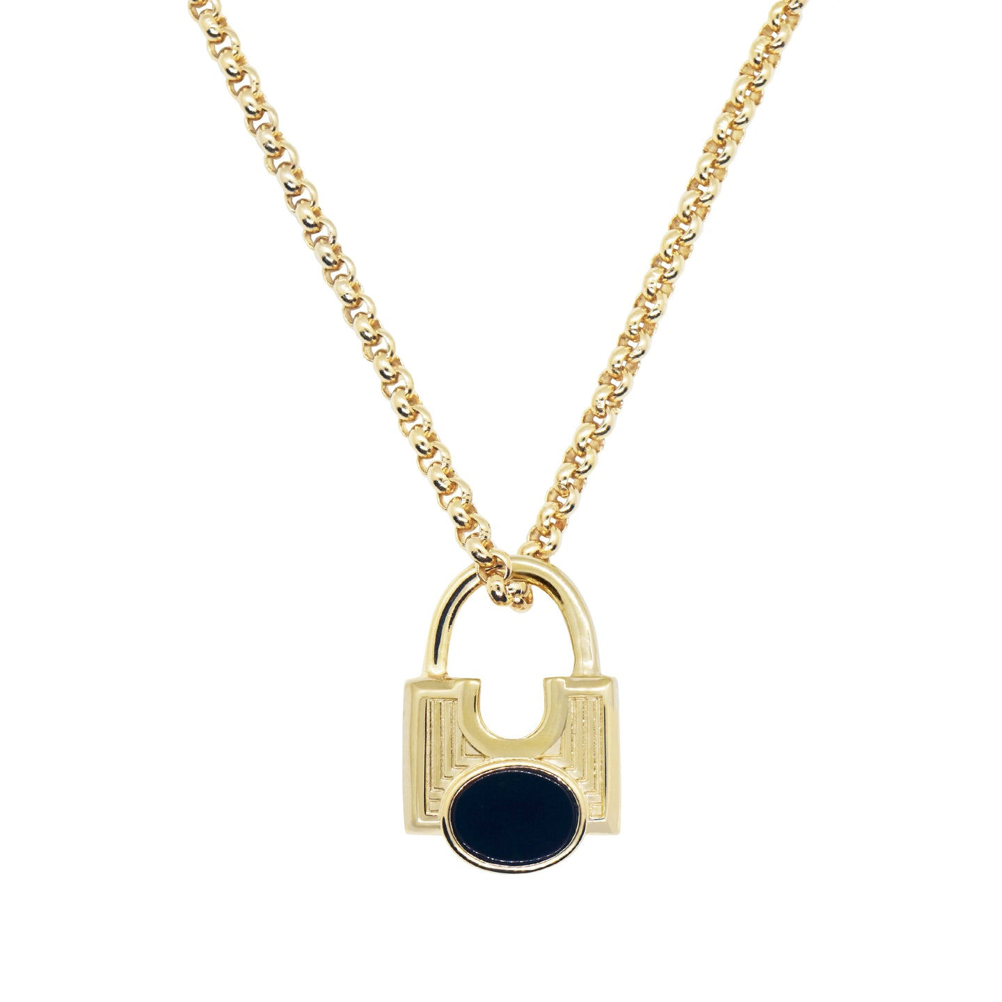 close up product shot of Pawnshop gold plated sterling silver black onyx padlock necklace. Box chain, with padlock charm- engraved front and oval black semi precious onyx stone centre. Shot on a white background.