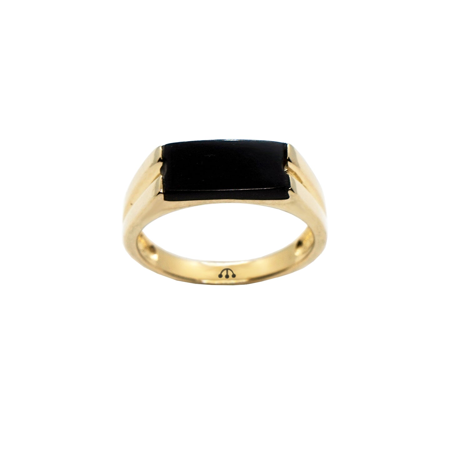 PAWNSHOP GOLD PLATED STERLING SILVER ONYX SIGNET RING
