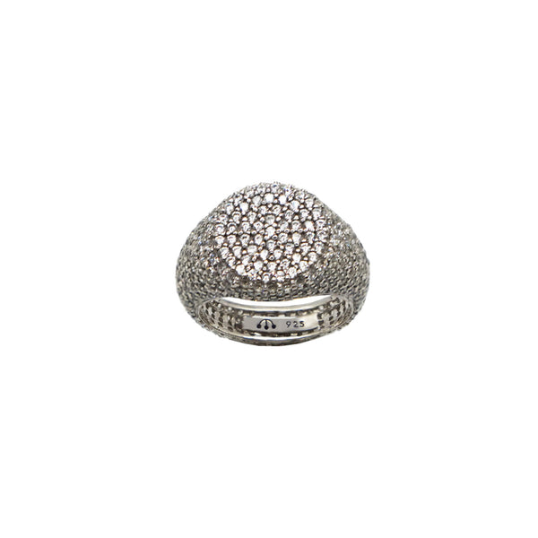 Pawnshop Sterling Silver Pave Pinky Ring set with clear CZ stones, white background