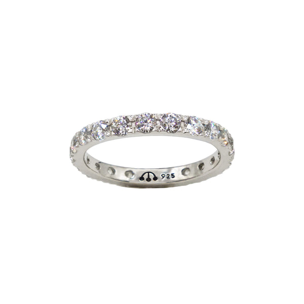 Pawnshop Sterling Silver Eternity Band - set with clear CZ stones, white background.